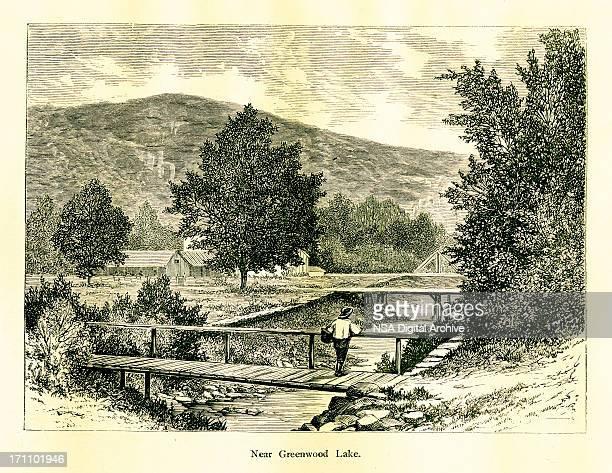 near greenwood lake, new york - village stock illustrations