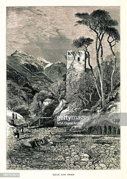 near san remo, italy i antique european illustrations - village stock illustrations