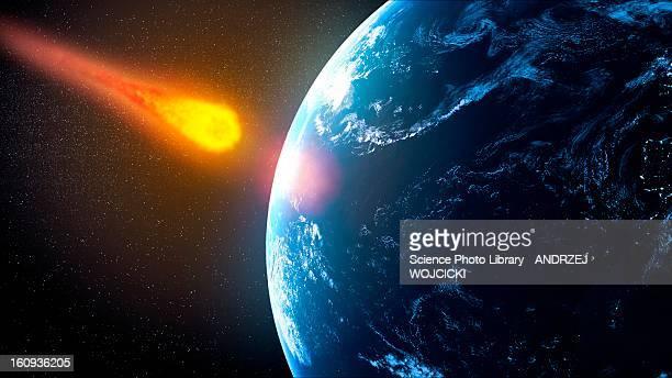 illustrazioni stock, clip art, cartoni animati e icone di tendenza di near-earth asteroid, artwork - meteorite
