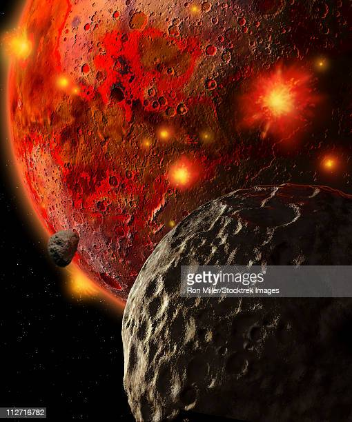nearly 4 billion years ago, the still-molten earth was pummeled by giant asteroids. - lava stock illustrations