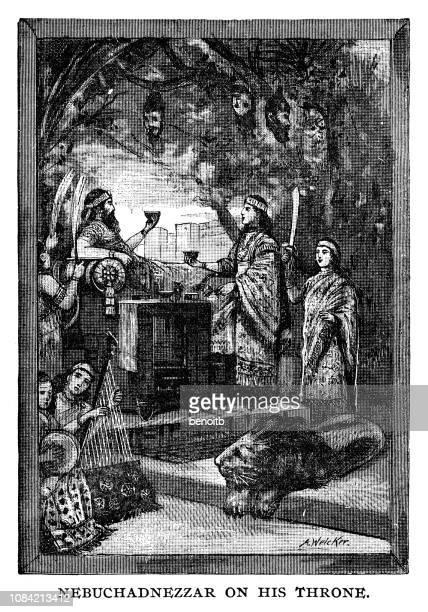 nebuchadnezzar on his throne - ancient babylon stock illustrations