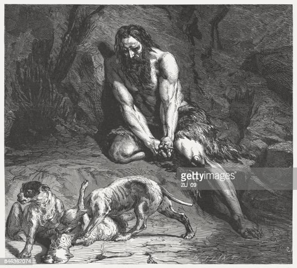 nebuchadnezzar's dream comes true (daniel 4,30), wood engraving, published 1886 - ancient babylon stock illustrations