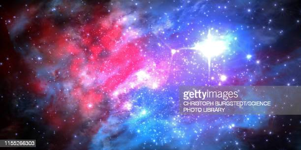 nebula and stars, illustration - shiny stock illustrations