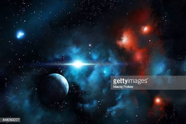 nebula cloud and planet - planet space stock illustrations