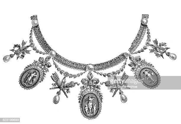 necklace - parure (louis xvi.), by boucheron (antique engraving) - necklace stock illustrations, clip art, cartoons, & icons