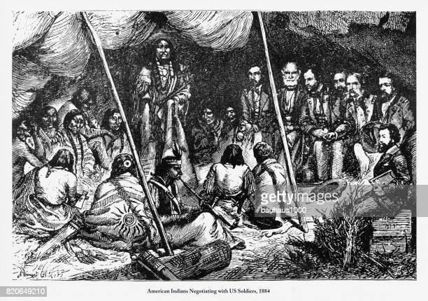 negotiating with us soldiers, american indians engraving, 1884 - indigenous north american culture stock illustrations, clip art, cartoons, & icons