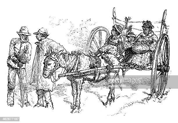 ilustraciones, imágenes clip art, dibujos animados e iconos de stock de negro agricultor - mula