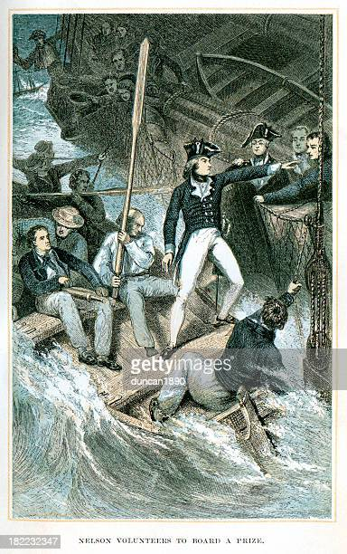 nelson volunteers to board a prize - admiral nelson stock illustrations