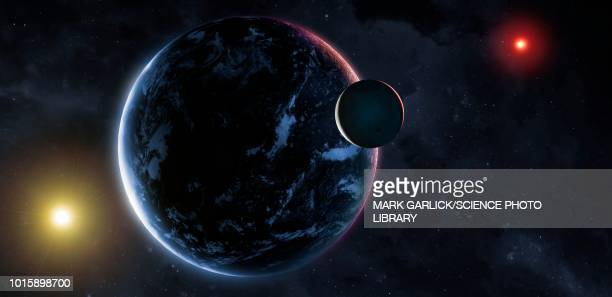 nemesis seen from earth, illustration - planet space stock illustrations