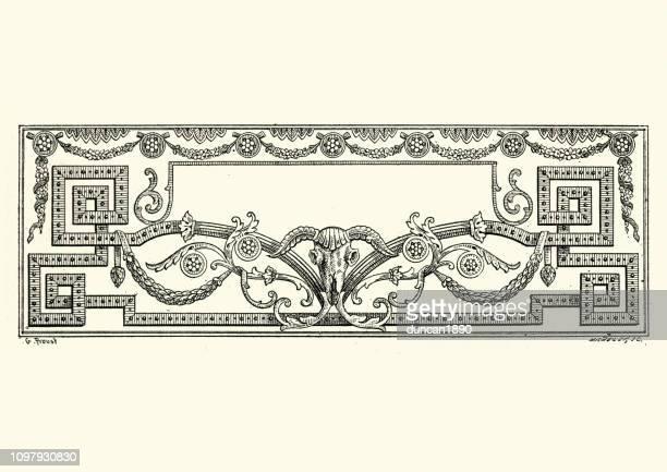 Neo classical ram skull design element title border frame