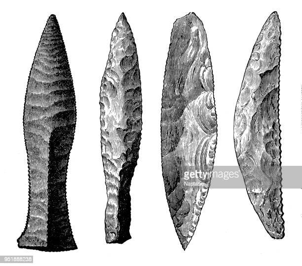 illustrazioni stock, clip art, cartoni animati e icone di tendenza di neolithic tools - paleolitico