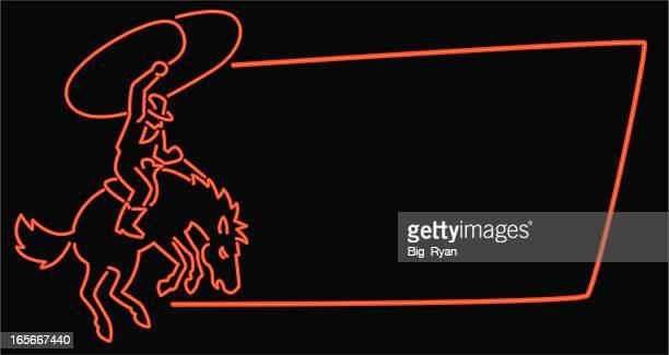 neon cowboy frame - cowboy stock illustrations, clip art, cartoons, & icons