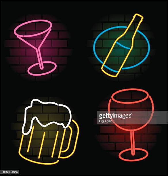 neon drink - neon lighting stock illustrations