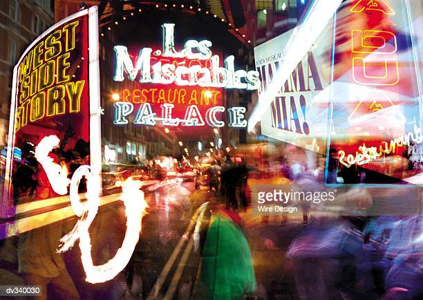 Neon signs of theater shows