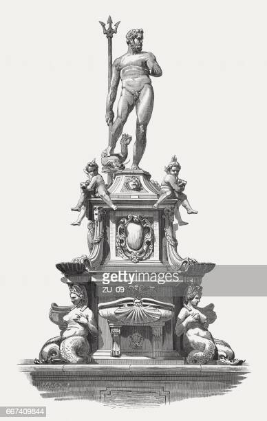 neptune fountain, sculpted (1565) by giambologna, bologna, italy, published 1884 - fountain stock illustrations, clip art, cartoons, & icons
