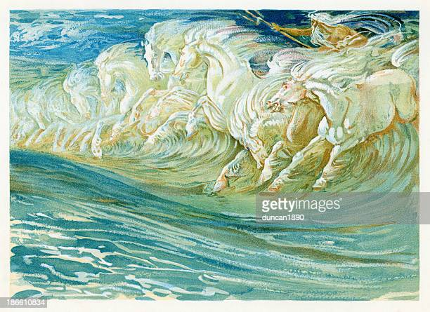 neptune's horses - greek mythology stock illustrations
