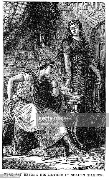 nero and his mother - holy roman emperor stock illustrations