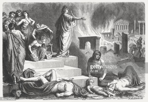Nero looks at the burning Rome, 64 AD, published 1864