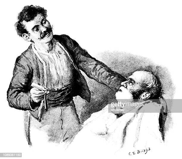 Nervous man about to be shaved by a barber with a cut-throat razor
