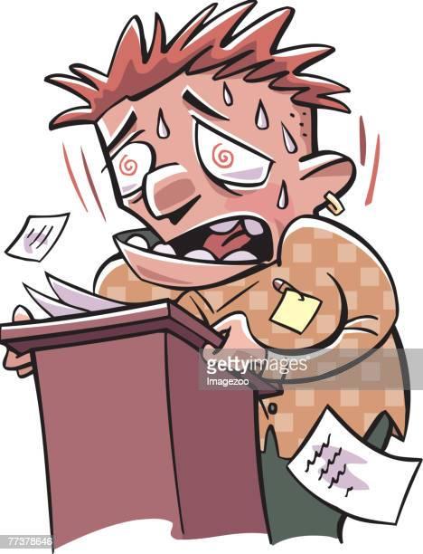 ilustrações de stock, clip art, desenhos animados e ícones de nervous man trying to give a speech - ansiedade