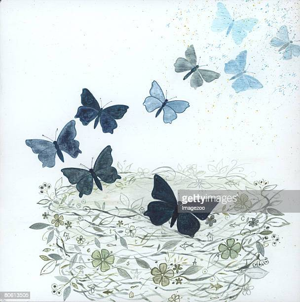 a nest surrounded by butterflies - animal limb stock illustrations, clip art, cartoons, & icons