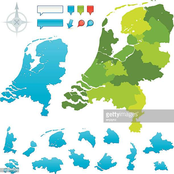 stockillustraties, clipart, cartoons en iconen met netherlands provincial map - noord holland