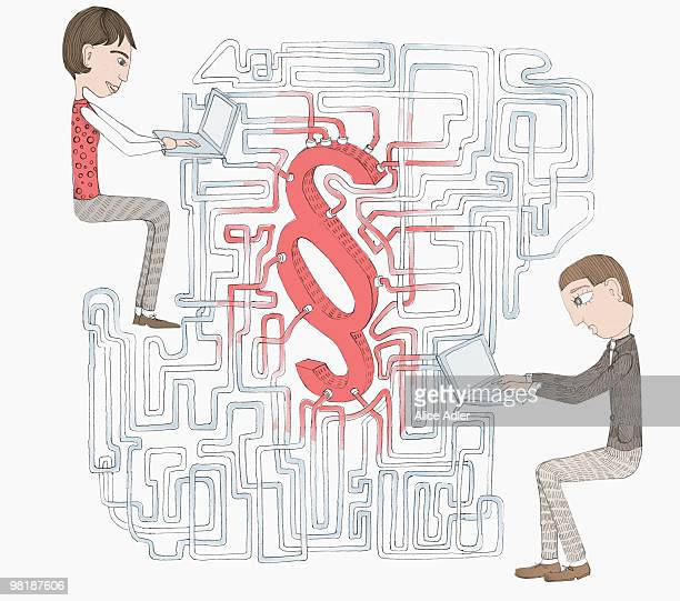a network and legal citation symbol between two people working on laptops - social media stock illustrations