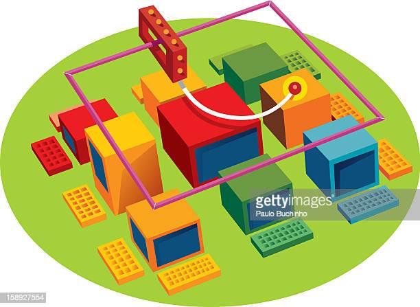 ilustrações de stock, clip art, desenhos animados e ícones de a network of computers - buchinho