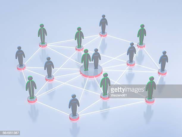 network of humanlike figurines, 3d rendering - figurine stock illustrations, clip art, cartoons, & icons