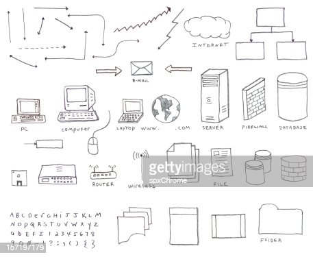 networking diagram icons stock illustration getty images - Network Diagram Icon