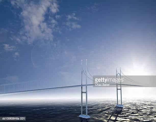 ilustraciones, imágenes clip art, dibujos animados e iconos de stock de never ending bridge over ocean (digitally generated) - puente colgante