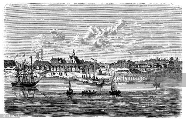 new amsterdam. first branch of foreigners in america (the later new york) - human settlement stock illustrations, clip art, cartoons, & icons