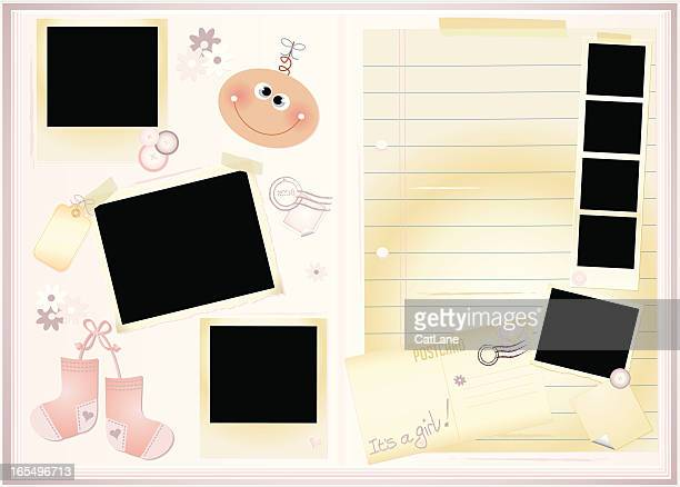 new baby girl memory book - gift tag note stock illustrations, clip art, cartoons, & icons