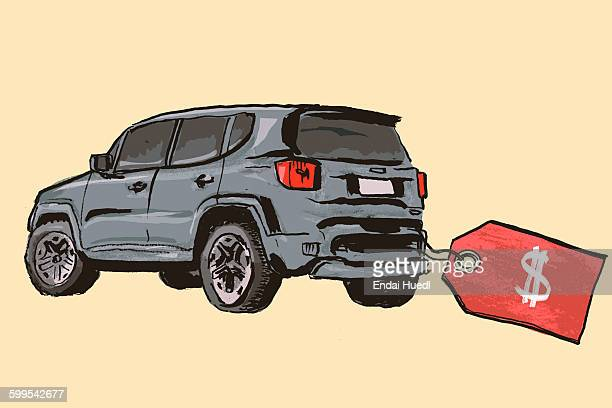 new car with dollar price tag on colored background - consumerism stock illustrations