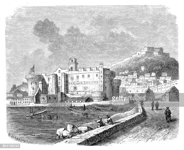 castel nuovo, napoles - naples italy stock illustrations