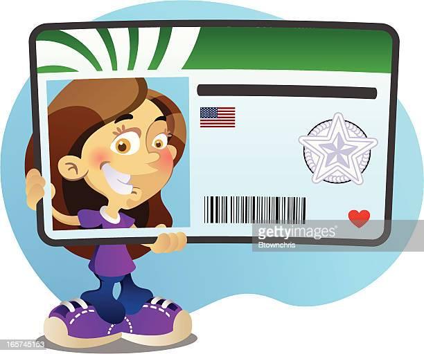 illustrations, cliparts, dessins animés et icônes de nouveau chauffeur fille - permis de conduire