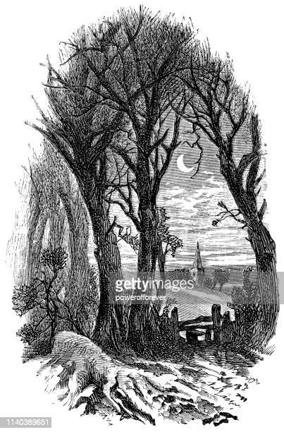 New England Landscape at Night in April - Works of Henry Wadsworth Longfellow