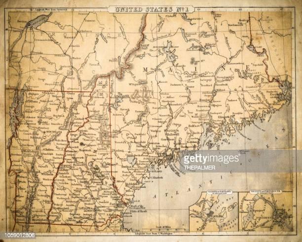 USA New England Sates map of 1869