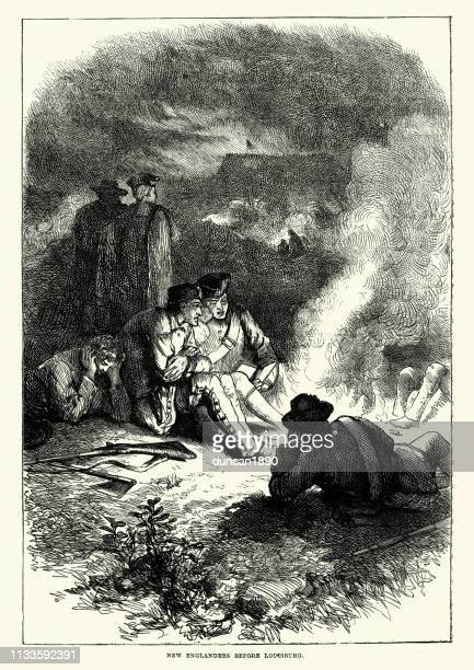 new england soldiers at the siege of louisbourg (1745) - louisbourg stock illustrations, clip art, cartoons, & icons