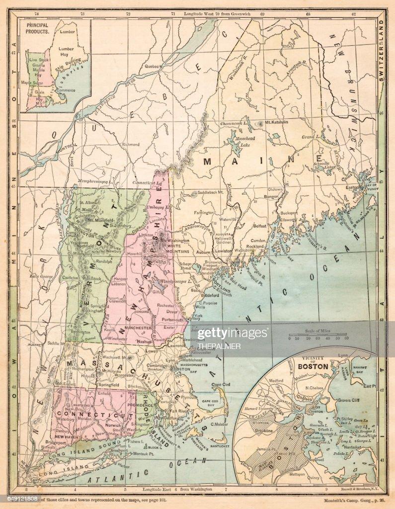 USA New England states map 1875 : stock illustration
