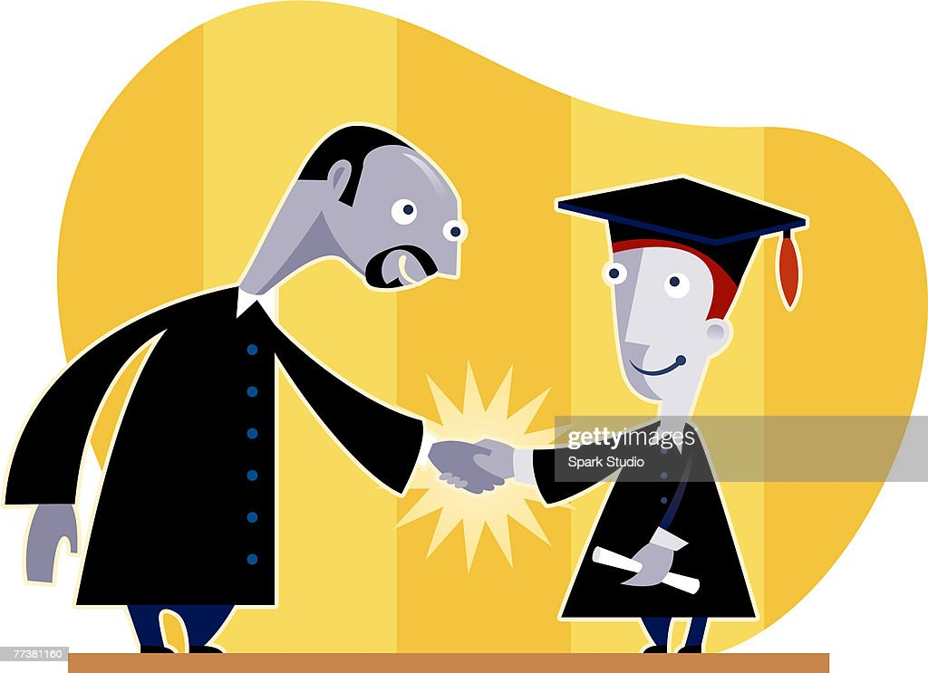 A new graduate shaking hands with the principal : Illustration