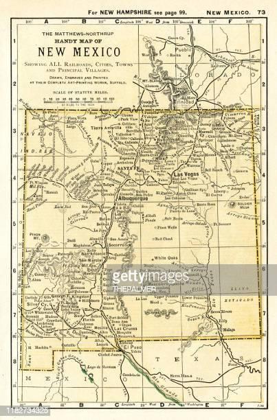 new mexico map 1898 - new mexico stock illustrations