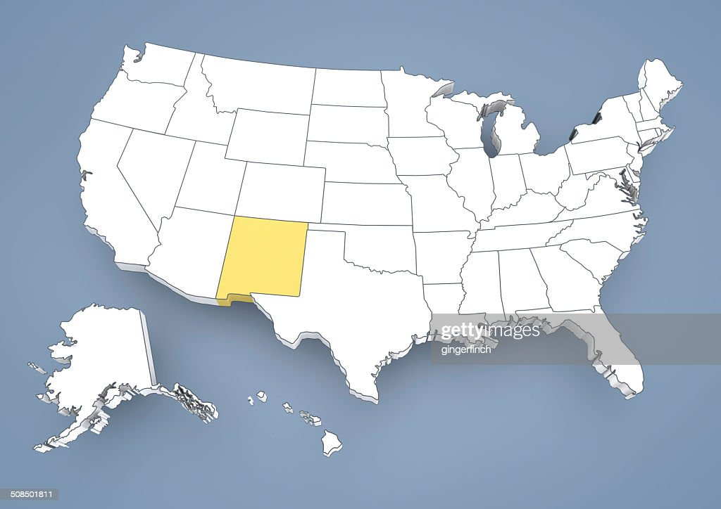 New Mexico Nm Highlighted On A Contour Map Of Usa United States Of - New mexico us map