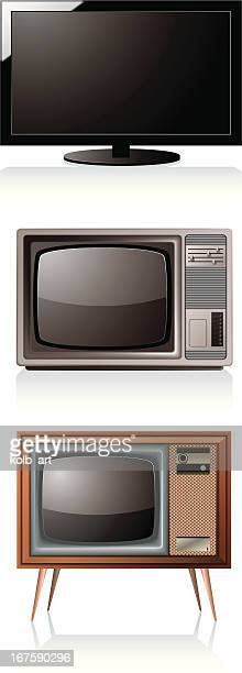 new, old, and older tvs - television industry stock illustrations
