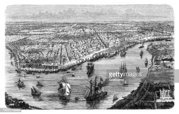 New Orleans aerial view with the Mississippi River 1876