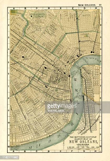 new orleans louisiana map 1898 - new orleans stock illustrations