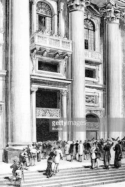ilustrações de stock, clip art, desenhos animados e ícones de nova papa praclamation - st. peter's basilica the vatican