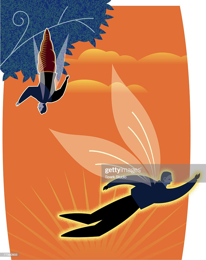 A new salesman flying away from the tree : stock illustration