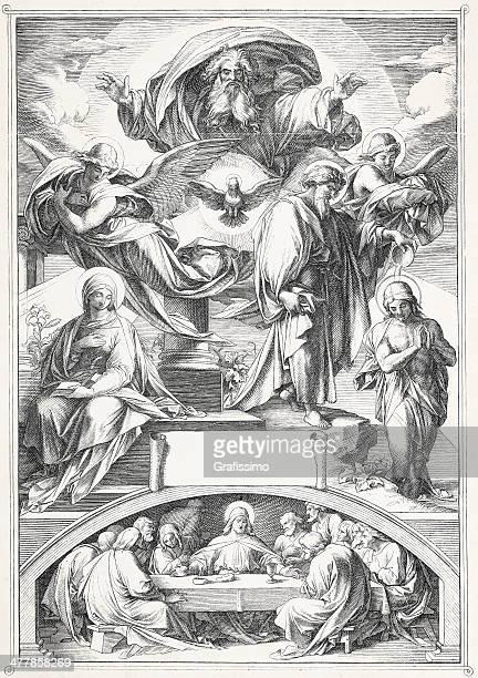 new testament the last supper - last supper stock illustrations