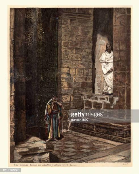 neues testament, die frau, die allein mit jesus im ehebruch genommen wurde - james tissot stock-grafiken, -clipart, -cartoons und -symbole